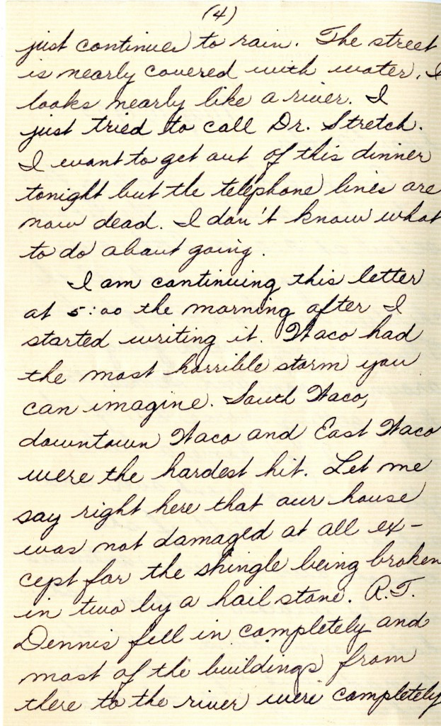 Harry Gillett letter describing the 1953 Waco tornado, page 4