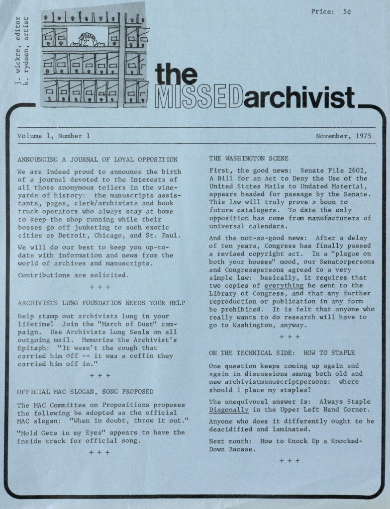 The Missed Archivist spoof newsletter, November 1975