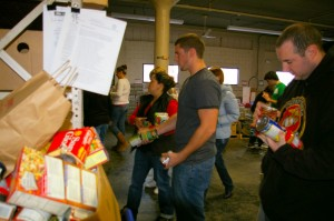 Students volunteer at a Food Pantry