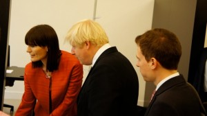 Aurore demonstrating TaskHub to Boris Johnson