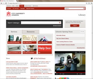 Screenshot of the new home page for the library site