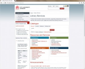 Screenshot of the old home page for the library site