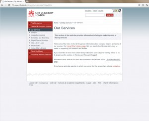 Screenshot of the old our services page for the library site