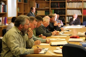 Some of the more than 25 growers taste-testing Cornell apple varieties.