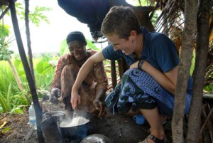 Lindsay Myron cooks ugali (made from maize flower) at Magoma, Tanzania.