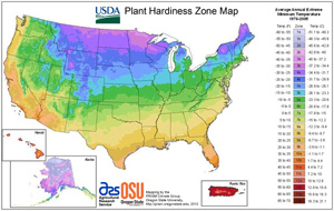 New USDA Hardiness Zone Map