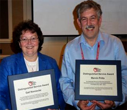 Gail Nonnecke and Marvin Pritts with their awards at the NASGA annual meeting.