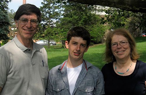 Alan Lakso (Cornell liaison to the grape industry committee that funds the scholarship), Shaulis Award winner Lucas Hartman, and Department of Horticulture associate chair  Susan Brown
