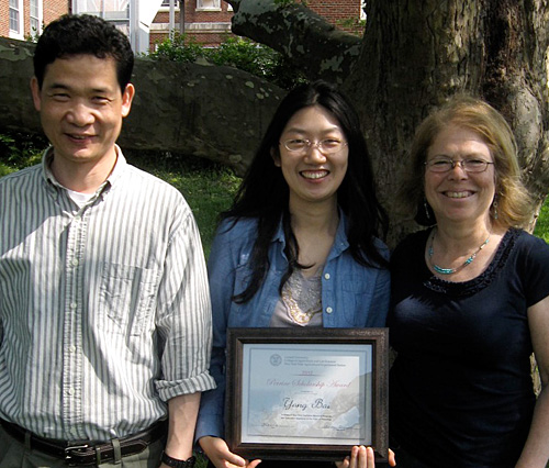 Kenong Xu, Perrine Award winner Yang Bai, and Department of Horticulture associate chair Susan Brown