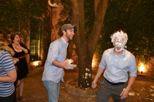 Brent takes a pie in the face