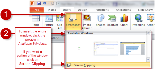 Image of the Insert Screenshot option in PowerPoint 2010.