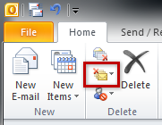 Screenshot of Outlook 2010's Clean Up button