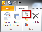 Screenshot of Outlook 2010's Ignore button, in condensed view