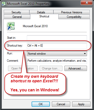 Screenshot of Windows shortcut properties