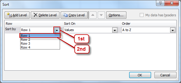 Screenshot of Excel's Sort option with Row 1 selected in the Sort by drop-down box