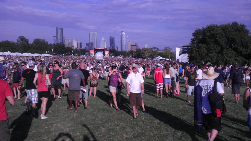 ACL crowd with Austin skyline