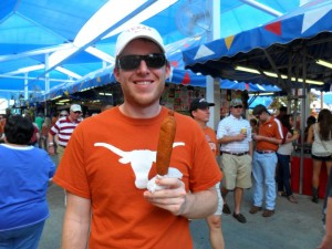 My classmate David enjoying a corn dog at the fair!