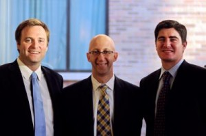 Brian Thomas, Jason Levine, and Allen Logue from the McCombs challenge team