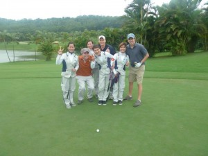 My teammates with our caddies!