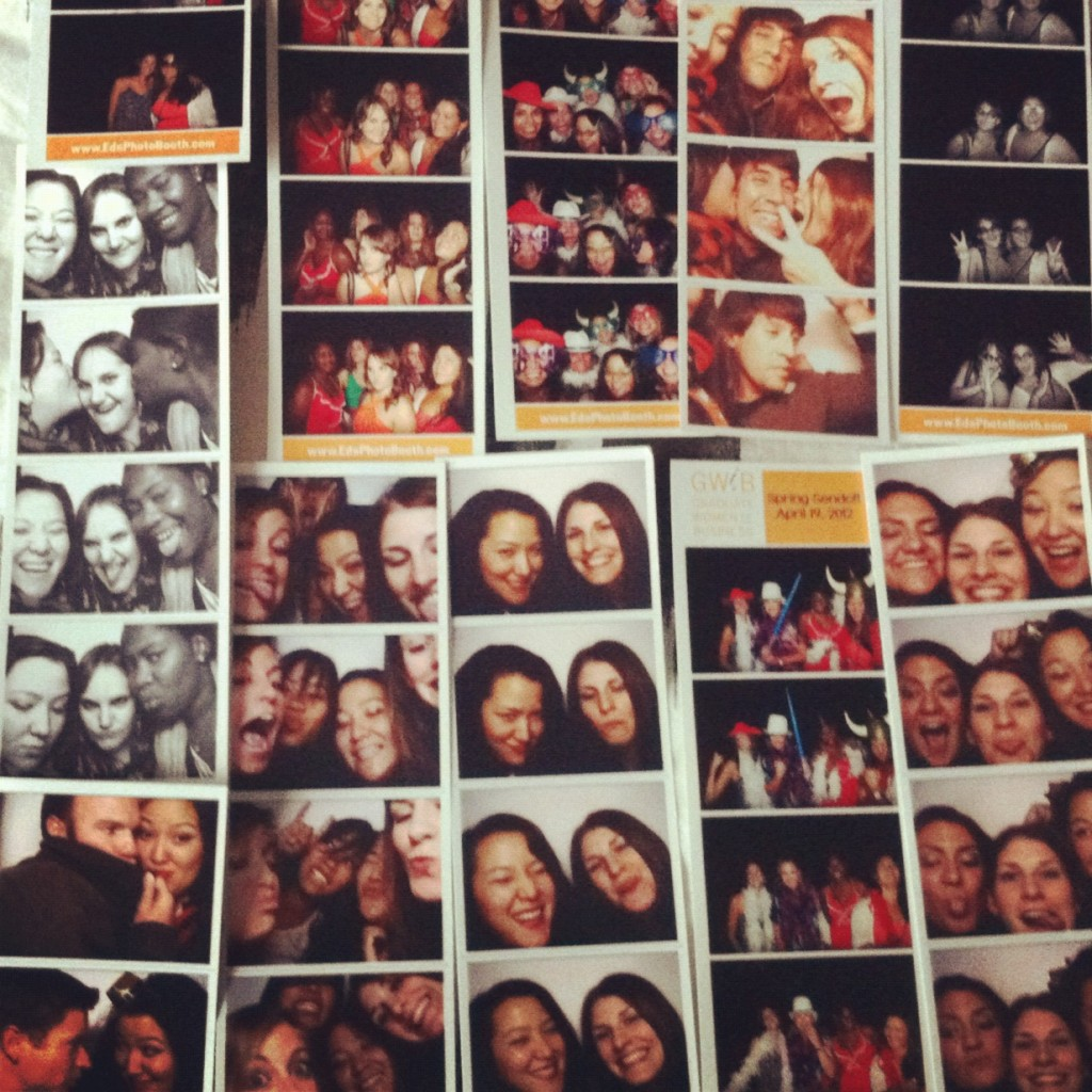 Photobooth photos of Kristin with friends
