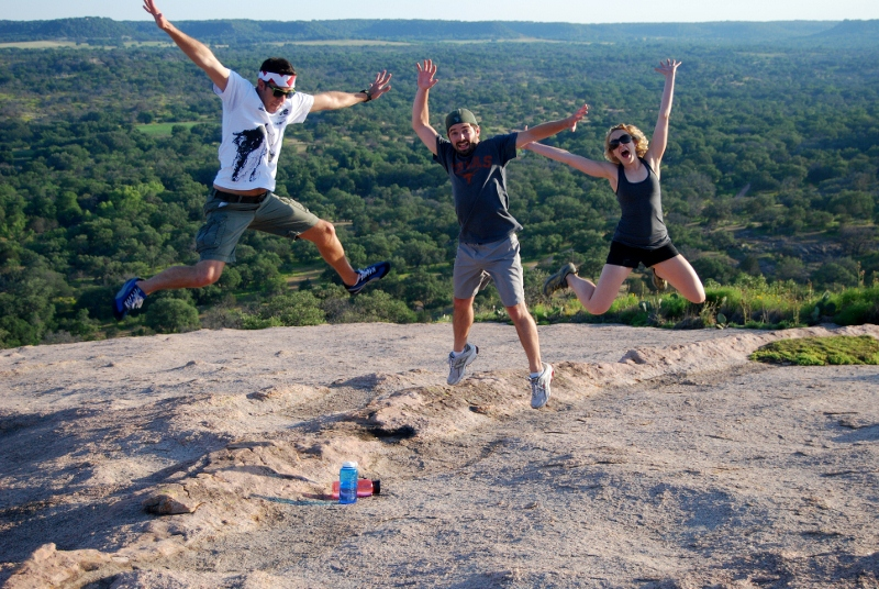 Jumping for joy at Enchanted Rock