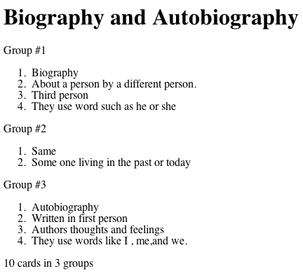 """One Response to """"Biography and Autobiography iCard Sort"""""""