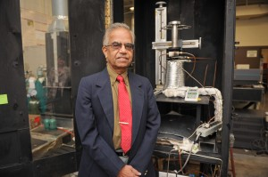 Dr. Gollahalli in his combustion lab