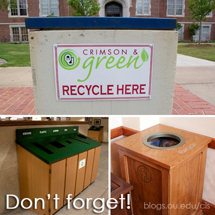 OU Crimson & Green recycle bins