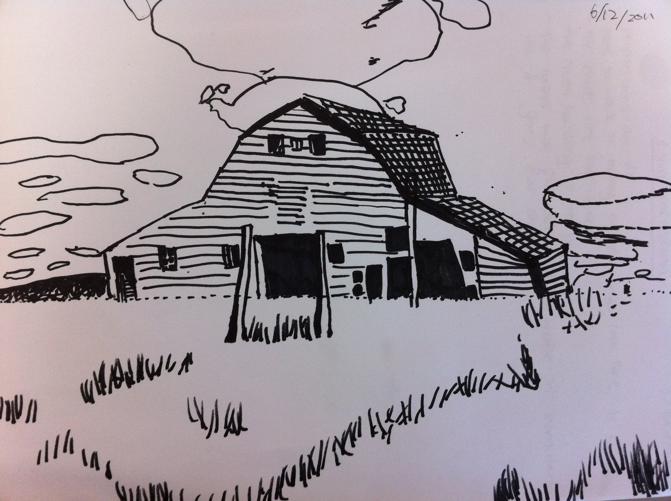 Barn Line Drawing in my Final Drawing