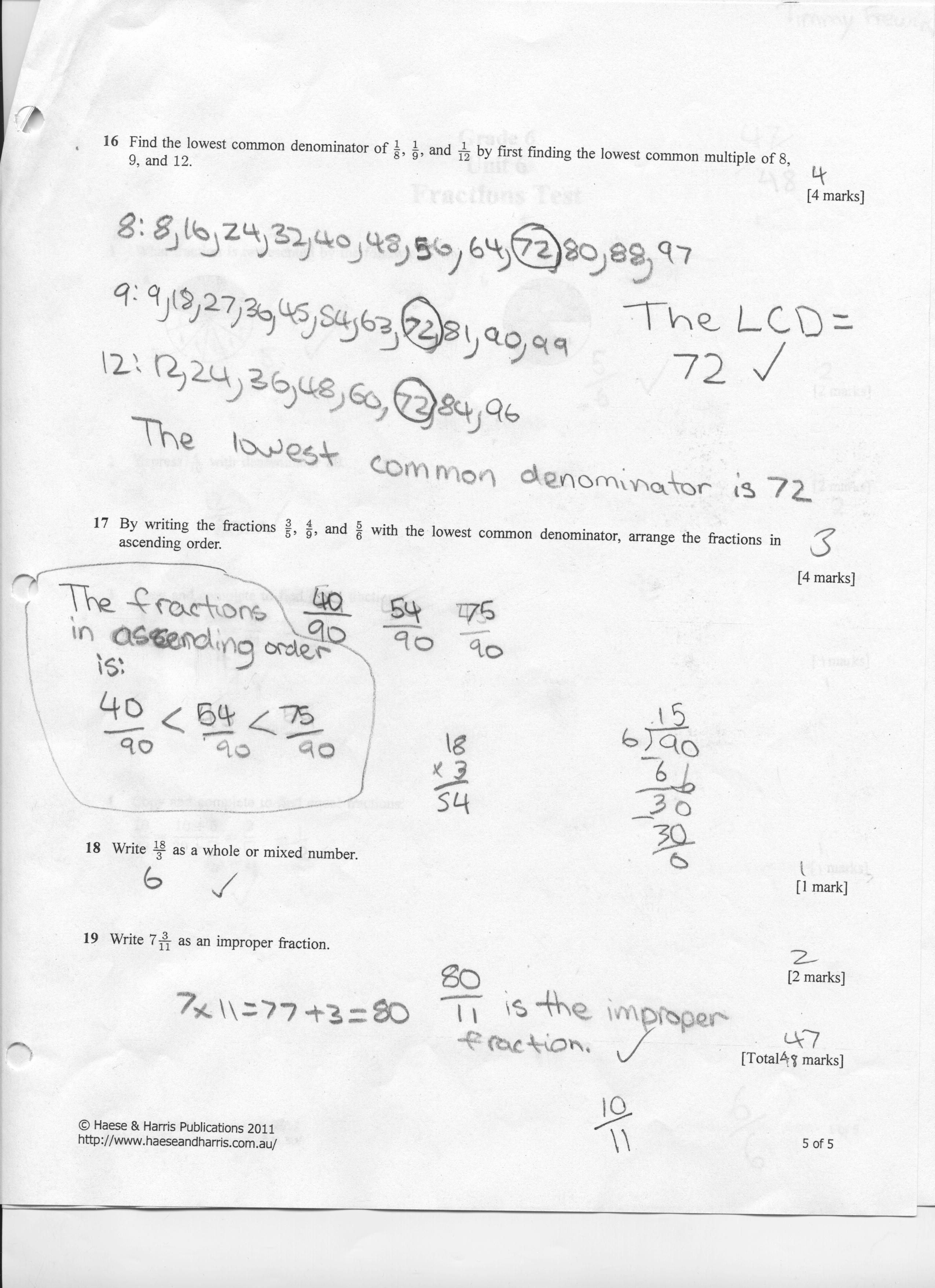 grade 7 fraction test 7 a pizza was cut into twelve slices seven were eaten what fraction of the pizza was eaten 8 there are 24 students in a class 8 have passed the fractions test what fraction of the students have passed fractions the fraction form of one because fractions show how many parts the whole has been divided into and.