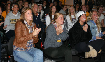 "The women's soccer team watch the ""NCAA Women's Soccer Tournament Selection Show."""