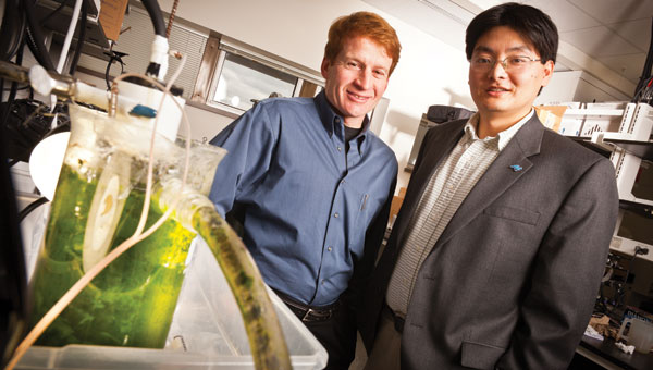 "Zhen ""Jason"" He, assistant professor of engineering (right), and Mark Murphy of Hydrotech innovations"
