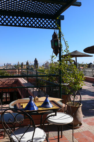 Rooftop dining in Marrakesh