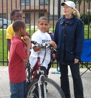 Anne Dressel with some up-and-coming bikers
